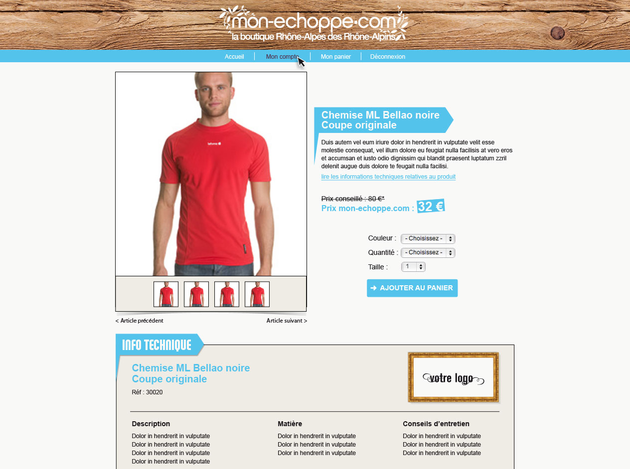 Web design du site mon-echoppe.com